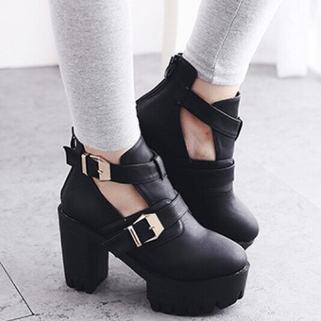 High heels platform fashion double buckle women ankle boots motorcycle ...