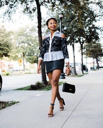 skirt black skirt shoes black shoes bag black bag