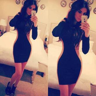 dress cream black bodycon dress little black dress shoes hourglass body kardashians kendall and kylie jenner form fitting nude dress mini dress