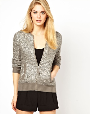 Oasis | Oasis Foil Boucle Bomber at ASOS