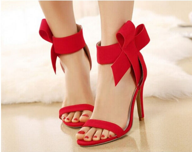 Shoes: bow shoes, bow, red high heels, lovely, red shoes, bowknot ...