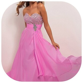 dress pink sparkle beaded long prom prom dress flowy flowy dress beaded dress pink dress bright pink bright pink dress sweatheart sweatheart neckline instagram fashion fasionpieces_ pink prom dress sparkly celebrity style steal princess prom dress