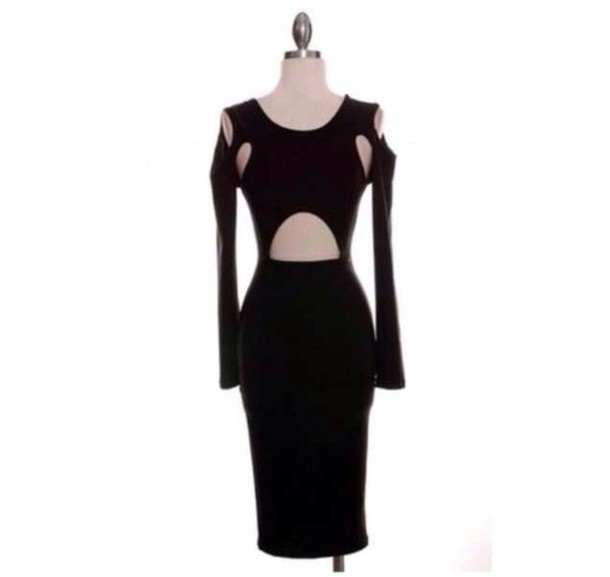 dress black dress black cut-out dress