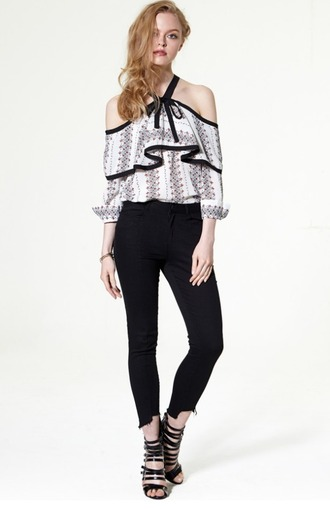 blouse pll premiere embroidered ruffle top off the shoulder ruffle ruffled top black and white