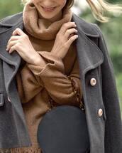 bag,black bag,sweater,brown sweater,jacket,grey jacket