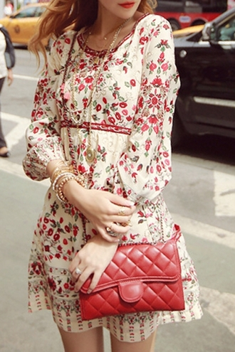 dress vintage vintage dress style cute beige floral floral dress back to school fall outfits red purse purse streetwear lookbook asian fashion red bag quilted bag