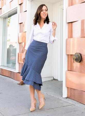 sydne summer's fashion reviews & style tips blogger skirt tank top shirt bag shoes celebrity midi skirt striped skirt white shirt pumps spring outfits