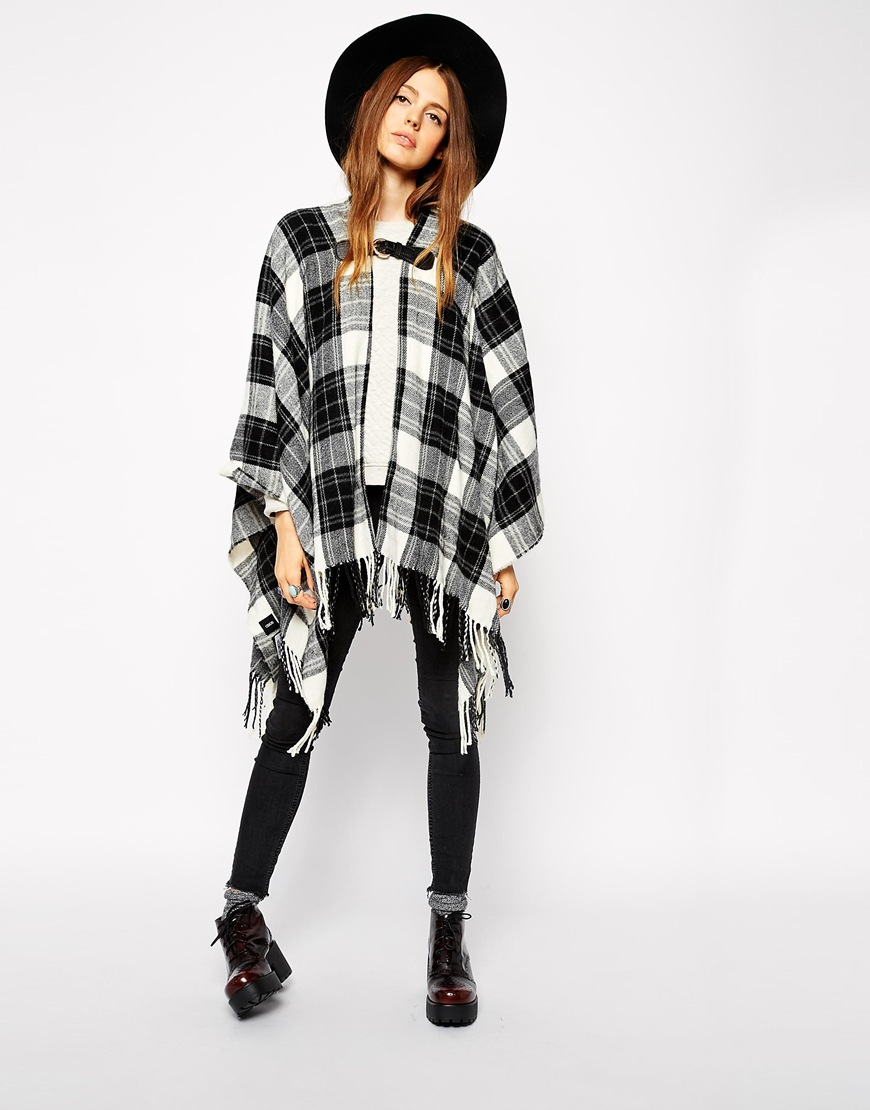 ASOS Black Check Cape at asos.com