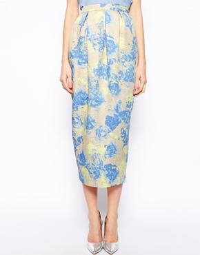 ASOS | ASOS Midaxi Skirt in Washed Floral Jacquard with Pockets at ASOS