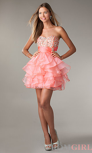 Strapless Party Dress, LA Glo Short Prom Dress-PromGirl