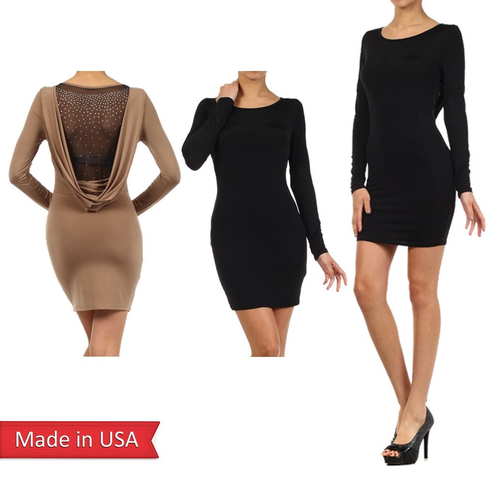 Sexy Solid Color Black Taupe Scoop Neck Rhinestones Drop Back Bodycon Dress USA