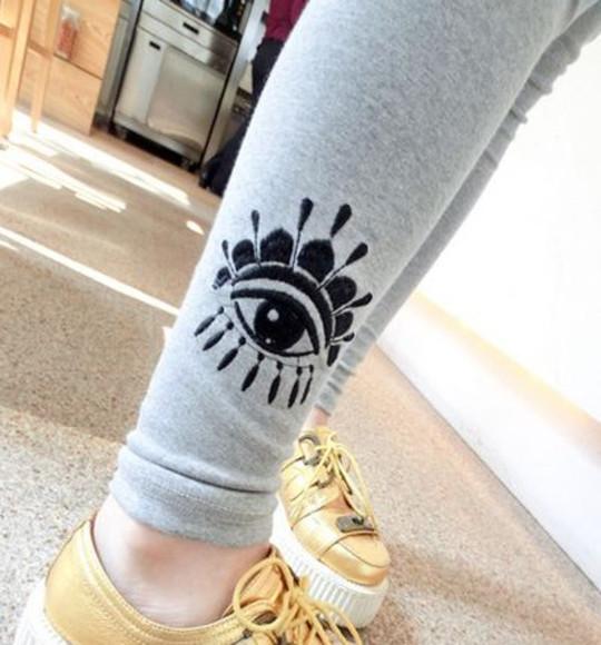 black tumblr fashion eye cute leggings eye print grey pants bottoms