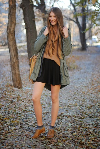 blogger khaki sunglasses jewels parka yuliasi cardigan fringed bag oxfords