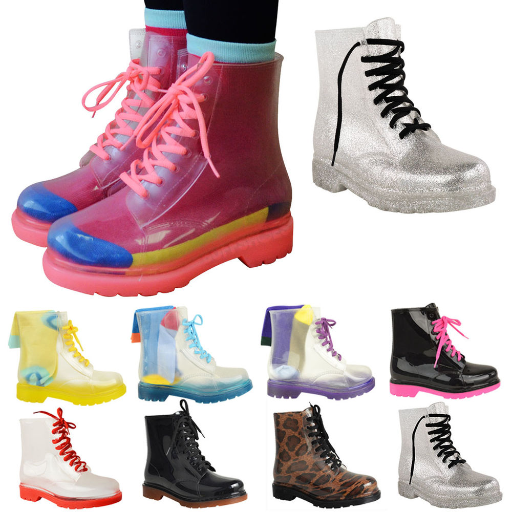 WOMENS LADIES FLAT CLEAR FESTIVAL JELLY WELLIES LOW ANKLE RAIN BOOTS SHOES SIZE