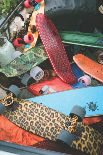 skateboard nice beautiful leopard print penny board summer sports