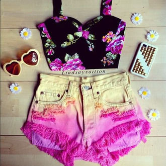 shirt bustier floral floral bustier roses tumblr pink shorts sunglasses yellow orange heart