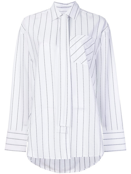 shirt striped shirt women white cotton top