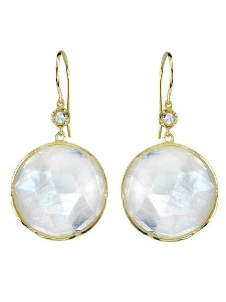 Irene Neuwirth women moon earrings gold grey metallic jewels