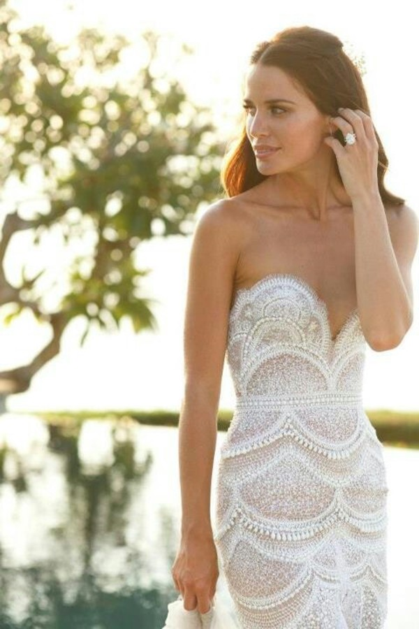 Dress: lace dress, lace, wedding clothes, wedding dress, strapless ...