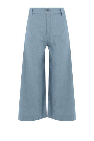 culottes cotton blue pants