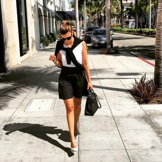 skirt shiva safai celebrity mini skirt black skirt skater skirt top white top bag black bag hermes bag hermes pointed toe pumps pumps white pumps sunglasses