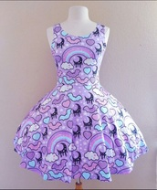 dress,purple dress,purple,clouds,heart,bats,moon,rainbow