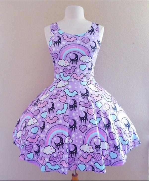 dress purple dress purple clouds heart bats moon rainbow