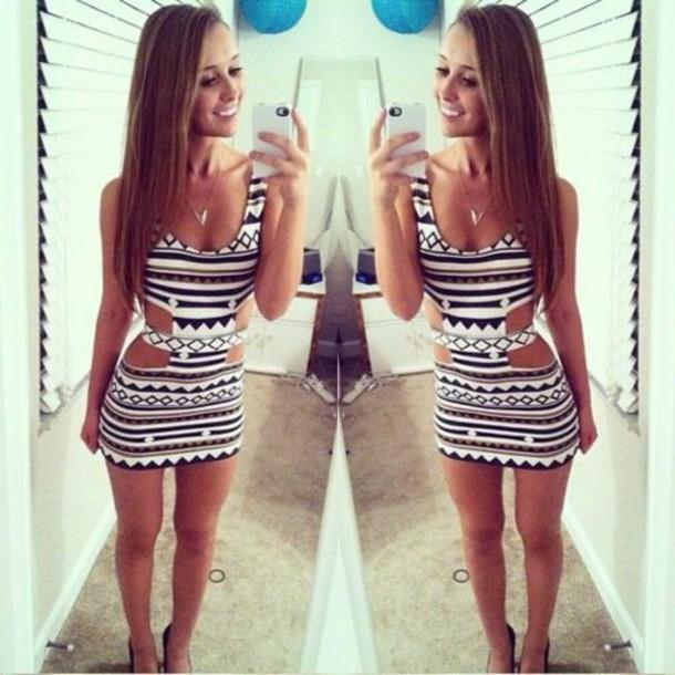 dress black white black and white aztec cut-out dress white dress aztec aztec dress bodycon dress cut-out dress