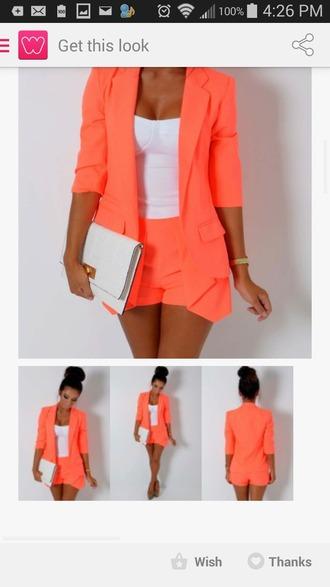 jacket coral blazer jacket shorts