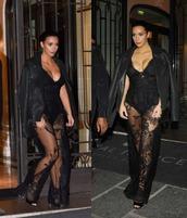jumpsuit,lace,black,kim kardashian,fashion week 2014