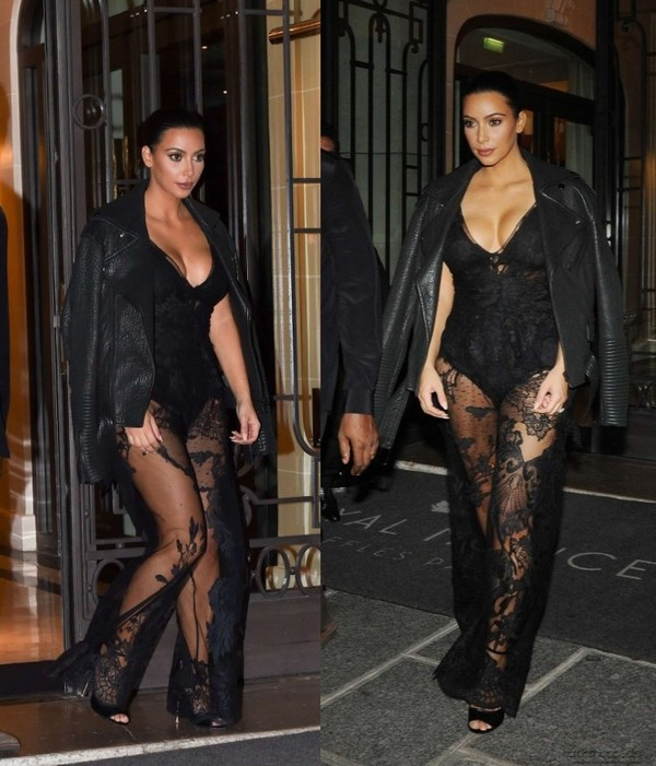 jumpsuit lace black kim kardashian fashion week 2014