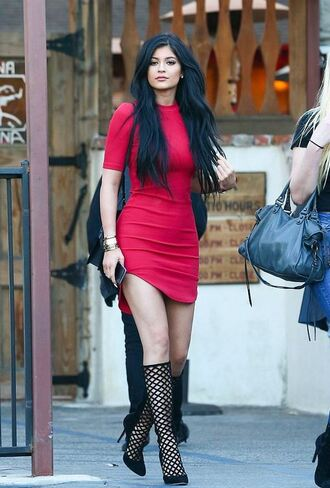 shoes pumps mesh kylie jenner dress mini dress gladiators caged sandals kylie jenner dress red dress bodycon dress jewels high heels black heels