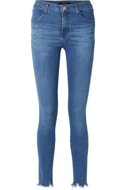 J Brand - Maria Frayed High-rise Skinny Jeans - Mid denim