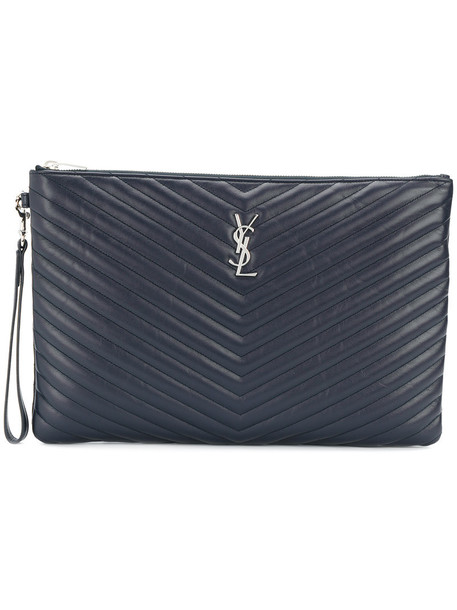 women quilted clutch leather blue bag