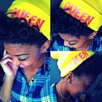 hat beanie yellow pink yellow pink yellow hat pink hat queen queens