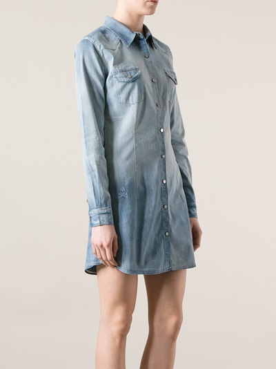 Philipp Plein Washed Denim Shirt Dress - First Boutique - Farfetch.com