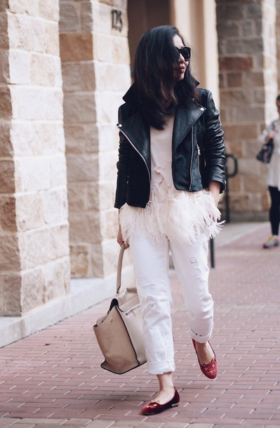 hallie daily blogger white top feathers cats ballet flats white jeans perfecto printed ballerinas cuffed jeans white ripped jeans ripped jeans fringes fringed top black leather jacket leather jacket black jacket black sunglasses sunglasses fall outfits nude bag