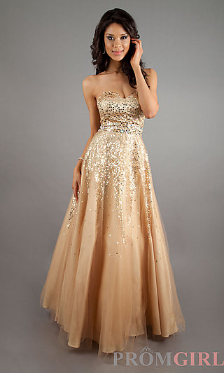 Strapless Sequin Ball Gown, Quinceañera Cheap Ball Gown- PromGirl