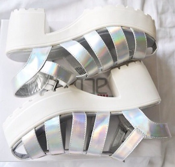 shoes silver white sandals metallic shoes platform high heels