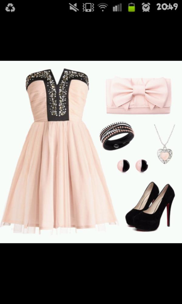 black dress glitter glammour knee length dress pouch bag bracelets shoes heels high heels necklace earrings set accessories jewels beige bows