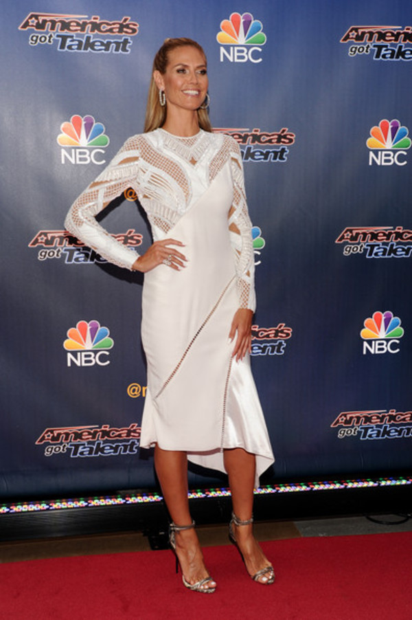 dress white dress heidi klum sandals high heels shoes