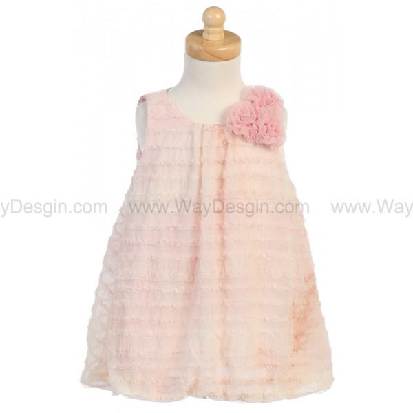 Peach Tie Die Ruffled Tulle Baby Doll Dress