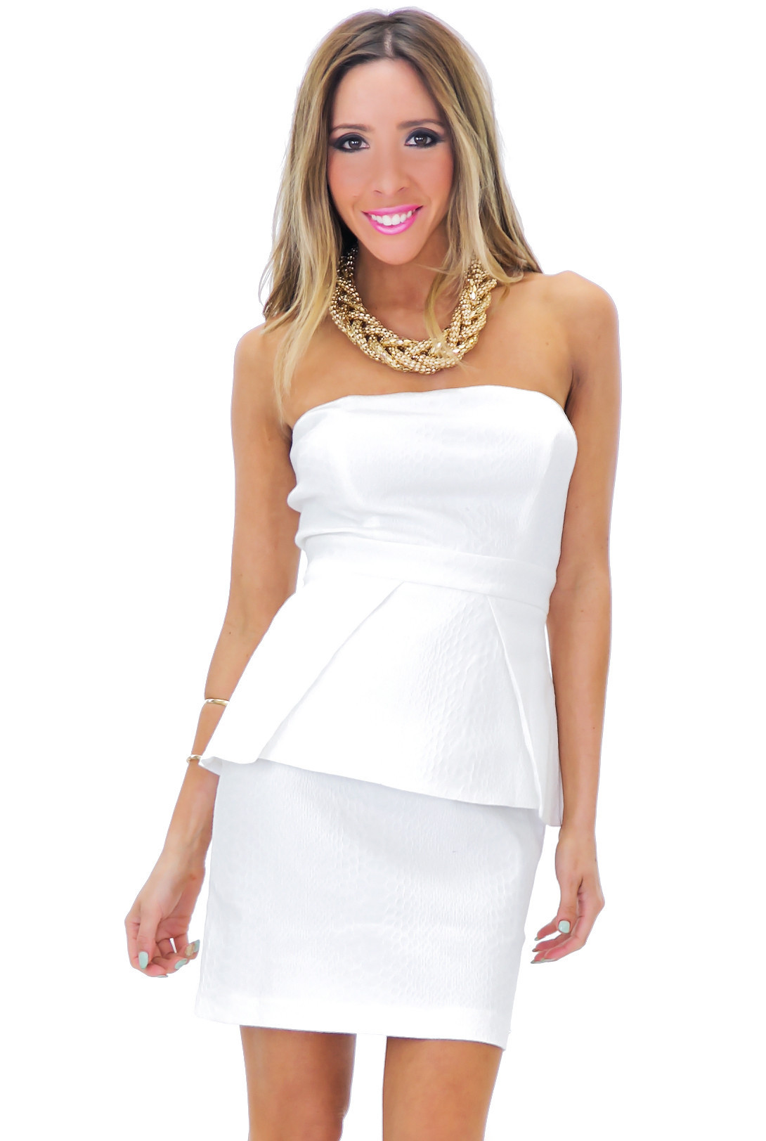 SANIA STRAPLESS PEPLUM DRESS | Haute & Rebellious
