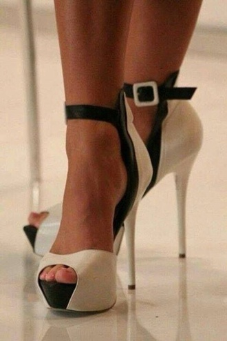 shoes high heels black and white