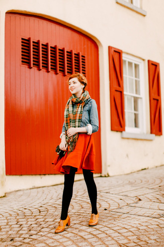 the clothes blogger tights red skirt denim jacket scarf jacket dress shoes bag