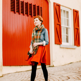 scarf jacket shoes bag dress tights blogger the clothes red skirt denim jacket scarf red