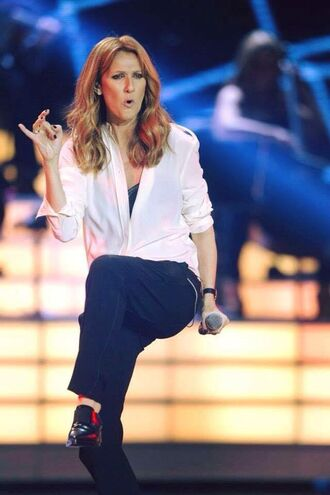 shirt celebrity style celebrity pants singer black pants white shirt shoes black shoes flats