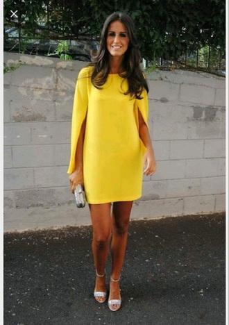 dress yellow cape like sleeves slit