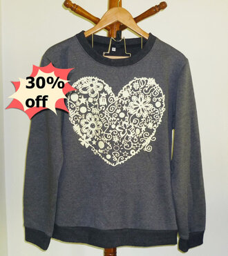 sweater sale online shop clothes pullover crewneck gray prints flower flower shirt