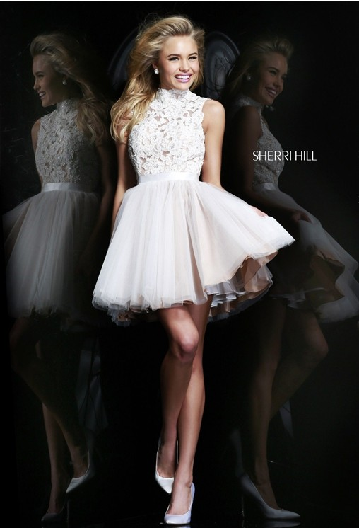 Embellished Bodice High Neck Ivory Short Dress [High Neck Ivory Short Dress 21345] - $150.00 : Discover Unique Dresses Online at PromUnique.com